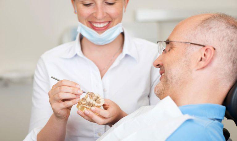 Доктор демонстрирует пациенту модель челюсти